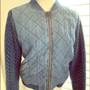 Cloth and stone denim puffer coat